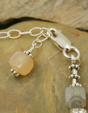 Strawberry Quartz & Sterling Silver Bracelet - EarthWhorls, LLC