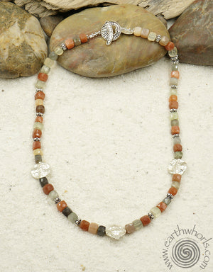 Strawberry Quartz & Sterling Silver Necklace - EarthWhorls, LLC