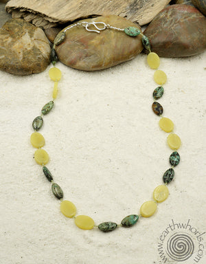 Yellow Opal, African Turquoise & Sterling Silver Necklace - EarthWhorls, LLC