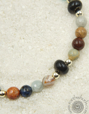 Mixed Stone & Sterling Silver Chakra Bracelet - EarthWhorls, LLC