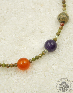 Chakra Stone & Sterling Silver Adjustable Bracelet - EarthWhorls, LLC