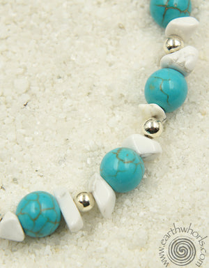 Turquoise, Howlite & Sterling Silver Chakra Anklet