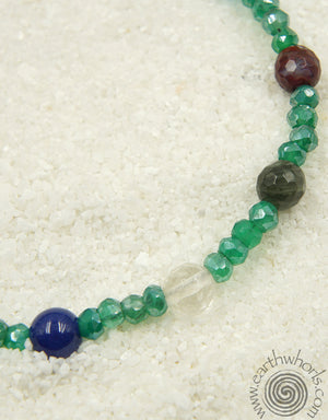Chakra Stone, Mixed Stone & Sterling Silver Anklet - EarthWhorls, LLC