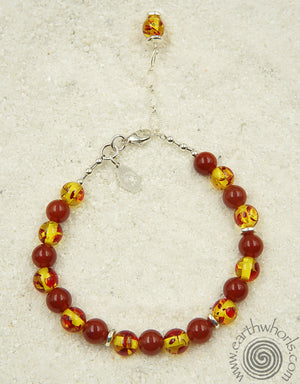 Chakra Stone, Fire Agate & Sterling Silver Anklet - EarthWhorls, LLC