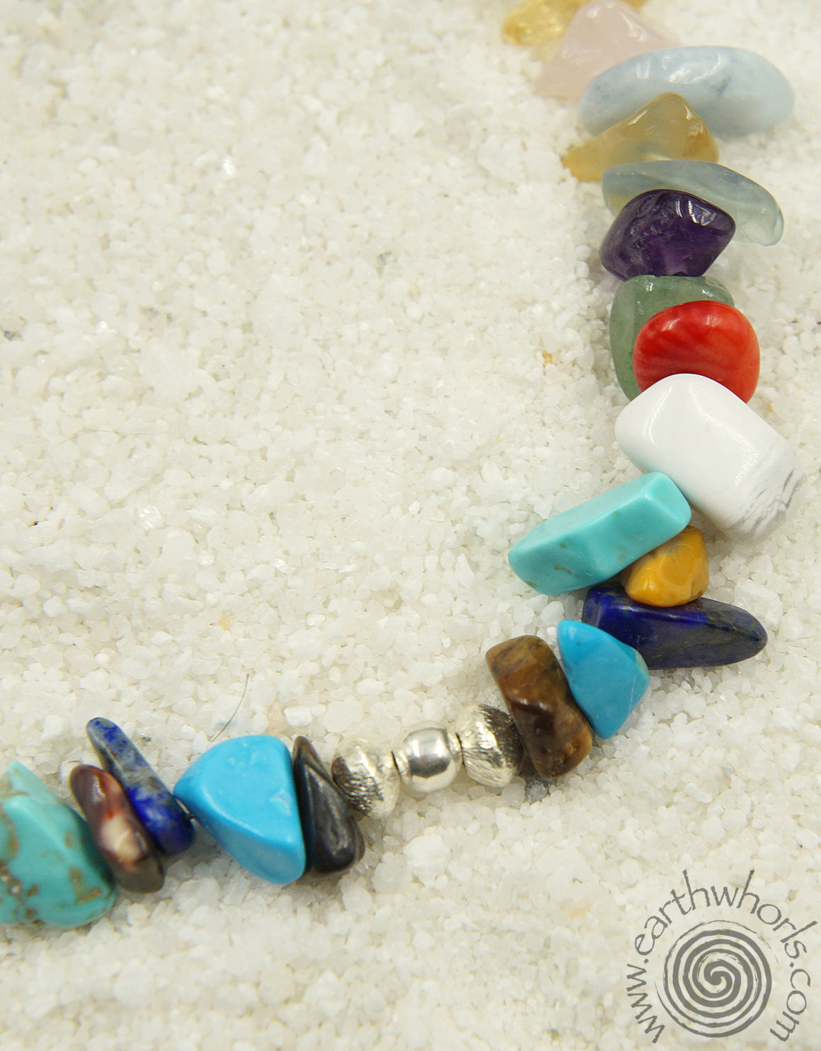 Chakra Stone, Raw Stone, Mixed Stone & Sterling Silver Anklet - EarthWhorls, LLC