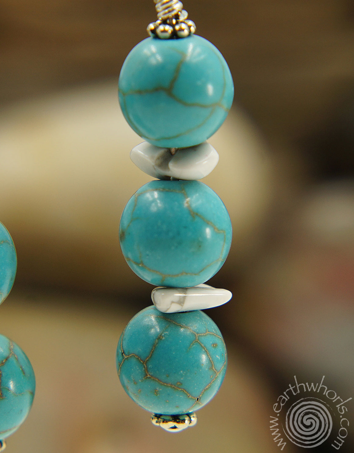 Turquoise, Chakra Stone, Howlite & Sterling Silver Earrings