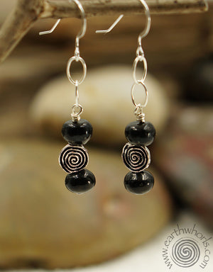 Shungite, Healing Stone & Sterling Silver Earrings