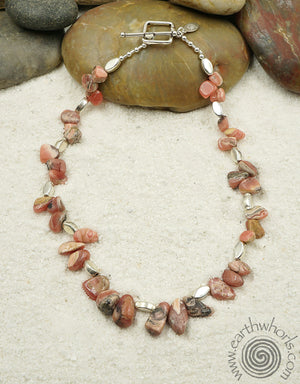 Rhodocrosite, Healing Stone & Sterling Silver Raw Stone Necklace