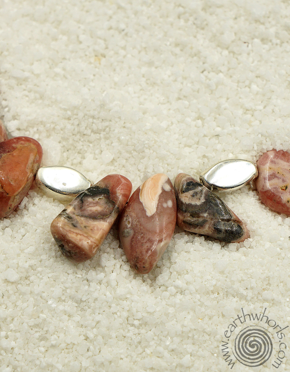 Rhodocrosite, Healing Stone & Sterling Silver Raw Stone Necklace - EarthWhorls, LLC
