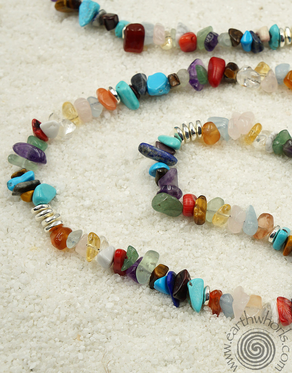Chakra Stone, Healing Stone, Mixed Stone & Sterling Silver Necklace - EarthWhorls, LLC