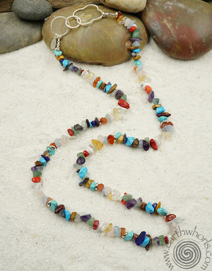 Natural Stone, Raw Stone, Mixed Stone, Chakra Stone & Sterling Silver Necklace
