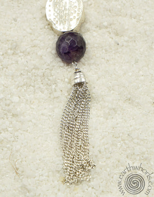 Amethyst, Chakra Stone, Classical Design, Sterling Silver Necklace - EarthWhorls, LLC