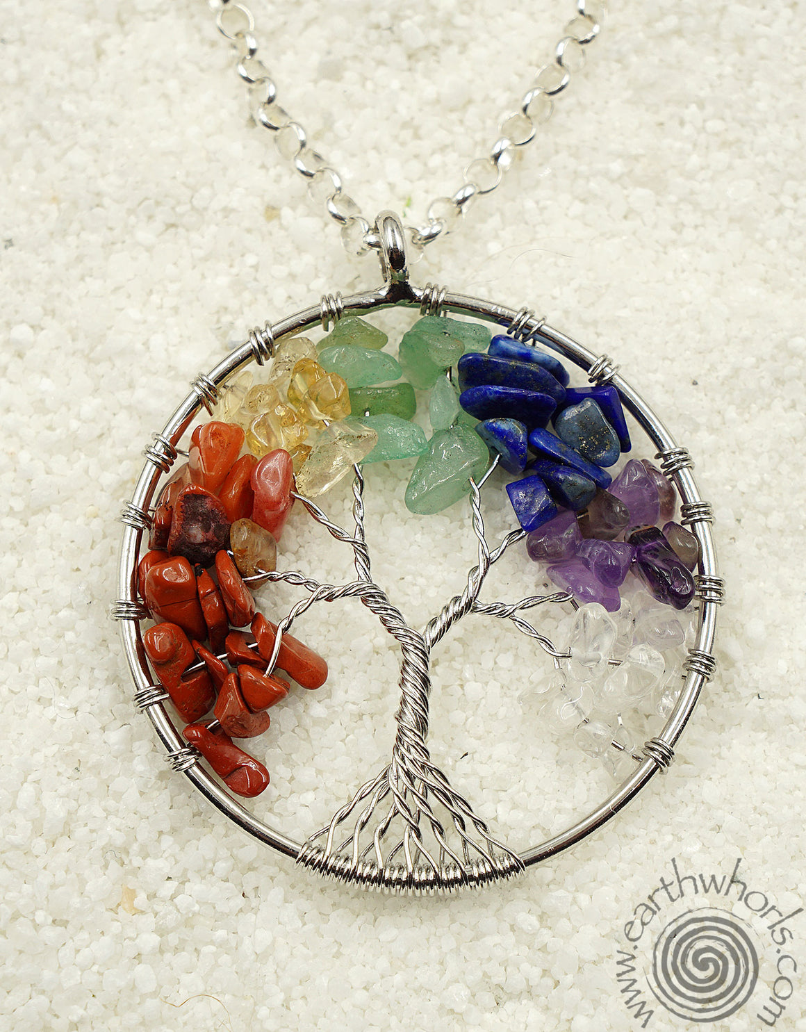 """Tree of Life"" Chakra Stone & Sterling Silver Pendant Necklace"