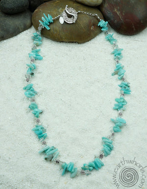 Amazonite & Sterling Silver Chakra Stone Necklace - EarthWhorls, LLC