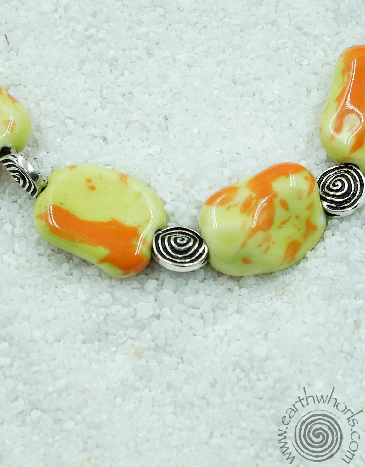 Porcelain Stone & Sterling Silver Choker Style Necklace - EarthWhorls, LLC