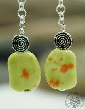 Porcelain Stone & Sterling Silver Drop Earrings