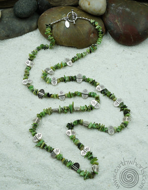 Chrysoprase & Sterling Silver Ultra Long Necklace - EarthWhorls, LLC