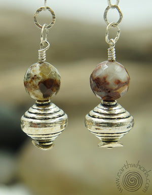 Agate & Sterling Silver Chakra Stone Earrings - EarthWhorls, LLC