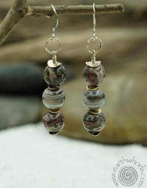 Agate & Sterling Silver Earrings - EarthWhorls, LLC
