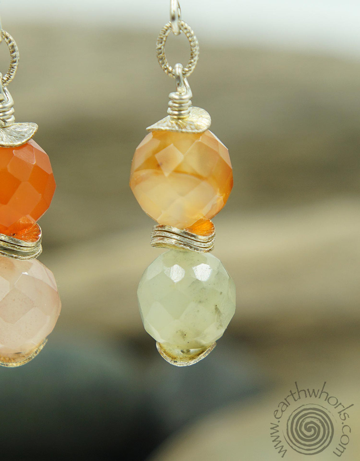 Carnelian & Sterling Silver Healing Stone Earrings - EarthWhorls, LLC