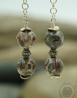 Two Stone Agate & Sterling Silver Dangle Earrings