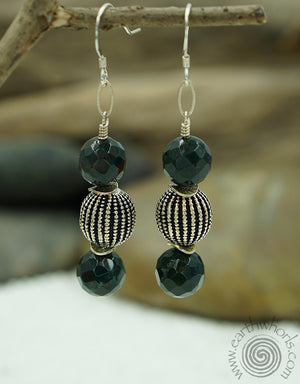Bloodstone, Agate & Sterling Silver Designer Earrings - EarthWhorls, LLC