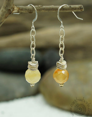 Carnelian Chakra Stones & Sterling Silver Dangle Earrings - EarthWhorls, LLC