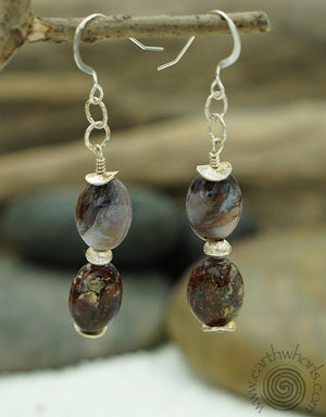 Pietersite & Sterling Silver Bohemian Style Earrings