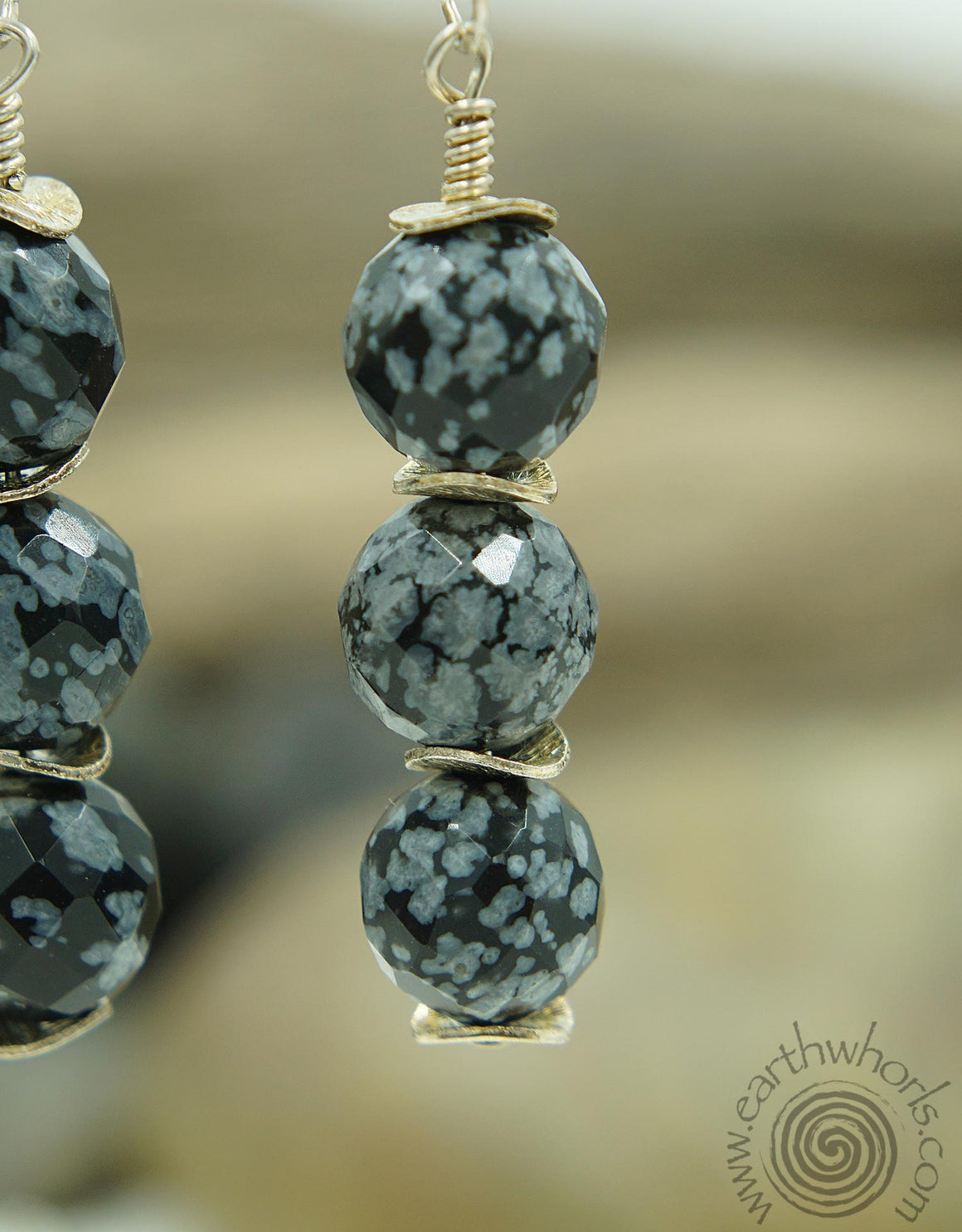 Blue Agate & Sterling Silver Three Stone Dangle Earrings - EarthWhorls, LLC