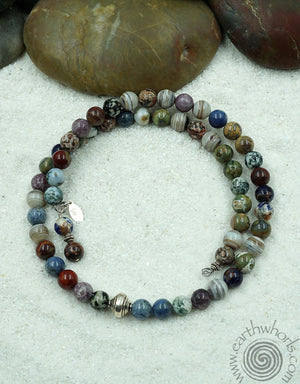 Agate & Sterling Silver Multi-Colored Stone Flexible Necklace - EarthWhorls, LLC