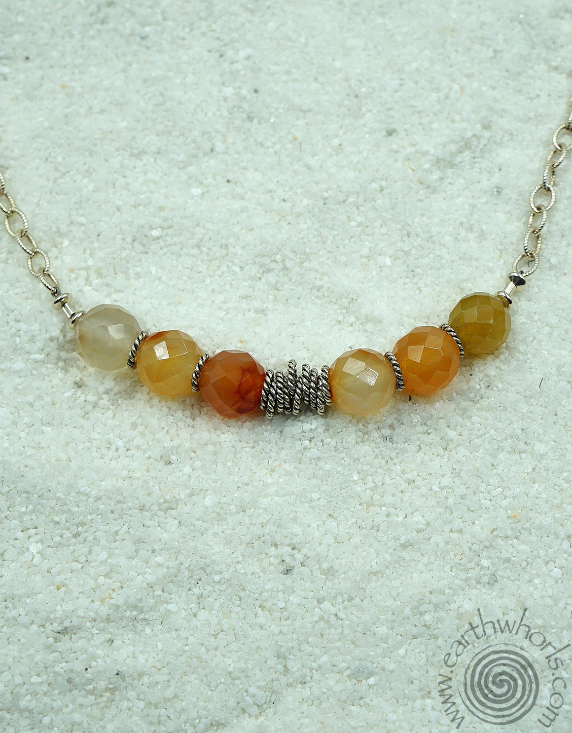 Carnelian & Sterling Silver EarthWhorls Wrap-It Design - EarthWhorls, LLC