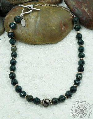 Bloodstone, Agate & Sterling Silver Choker Style Necklace
