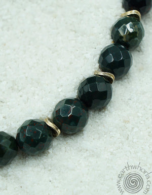 Bloodstone, Agate & Sterling Silver Choker Style Necklace - EarthWhorls, LLC