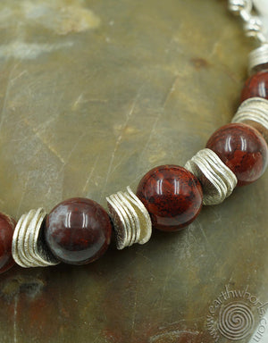 Red Bloodstone & Sterling Silver Adjustable Length Bracelete