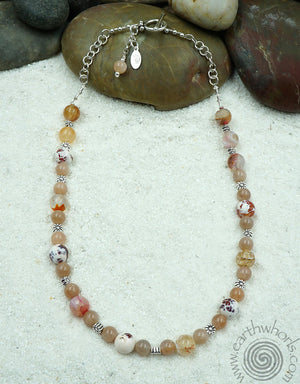 Fire Agate, Carnelian & Sterling Silver Mid Length Necklace