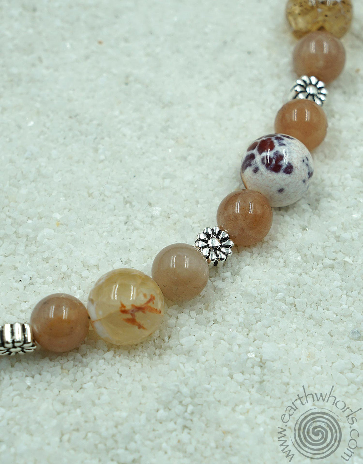 Fire Agate, Carnelian & Sterling Silver Mid Length Necklace - EarthWhorls, LLC