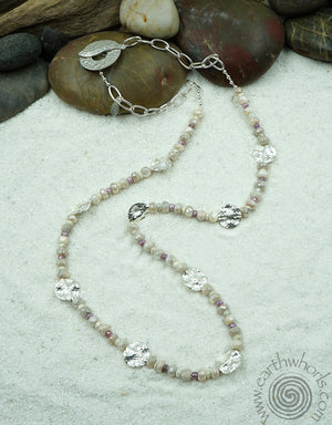 White & Pink Sapphire, Moonstone & Sterling Silver Designer Necklace - EarthWhorls, LLC