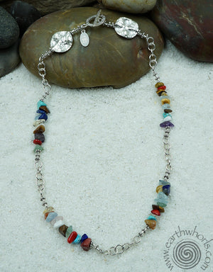 Chakra, Raw Stone and Sterling Silver Choker Necklace