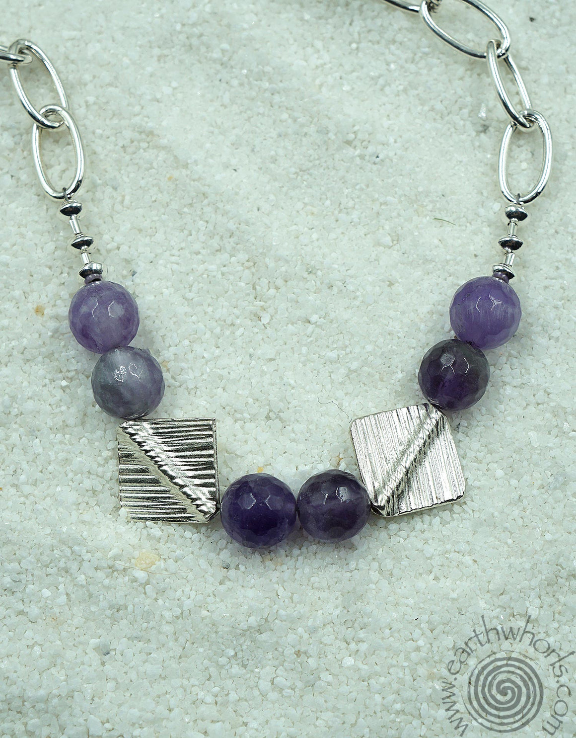 Amethyst & Sterling Silver Continuous Designer Necklace - EarthWhorls, LLC