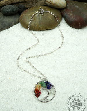 Chakra Stone & Sterling Silver Pendant Necklace - EarthWhorls, LLC
