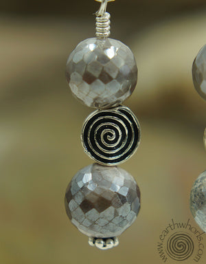 Moonstone & Sterling Silver Drop Earrings - EarthWhorls, LLC
