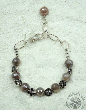 Moonstone & Sterling Silver Bracelet - EarthWhorls, LLC