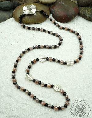 Shungite, Moonstone & Sterling Silver Long Necklace - EarthWhorls, LLC