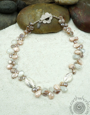 Moonstone & Sterling Silver Fashion Necklace