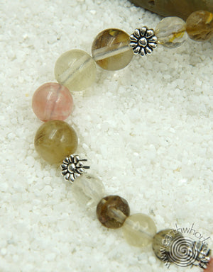 Strawberry Quartz & Sterling Silver Mid-Length Necklace - EarthWhorls, LLC