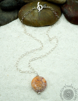 Agate & Sterling Silver Single Stone Pendant Necklace - EarthWhorls, LLC
