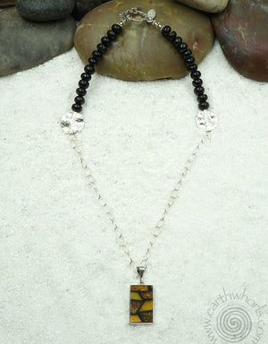 Amber, Shungite & Sterling Silver Designer Pendant Necklace - EarthWhorls, LLC