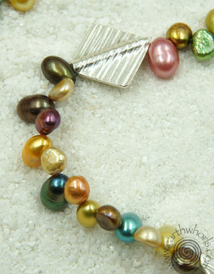 Freshwater Pearls & Sterling Silver Long Necklace - EarthWhorls, LLC