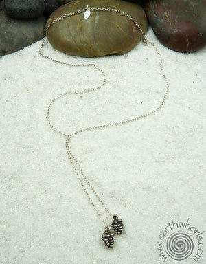 Sterling Silver Long Lariat Necklace - EarthWhorls, LLC