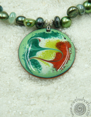 Enamel Pendant Chakra Stone Necklace - EarthWhorls, LLC